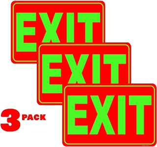 Exit Signs Plastic Pack of 3, 12 in. x 8 in. | Indoor/Outdoor for Retail, Restaurants, Retail Stores, Offices, Hotels
