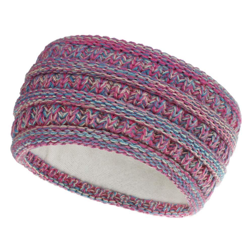Women Headbands Winter Warm Knit Ear Warmer Thick Head Wrap Fuzzy Fleece Lined Gifts