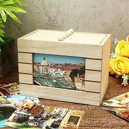 HNTLY 6-Zoll-Album Holz Aufbewahrungsbox Hochzeit Baby Fotos Einfügen Box Album DIY Dekoriert Retro-Box 100pcs Fotoaufbewahrung