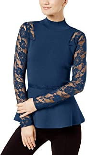 INC International Concepts Lace-Sleeve Peplum Sweater, Deep Twilight, XL