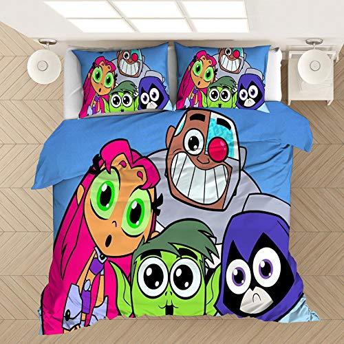Juego de ropa de cama con funda nórdica de dibujos animados en 3D para niños de Titanes adolescentes, suave cómoda duradera, funda de edredón, ropa de cama textiles para el hogar-B_135x200cm (2pcs)