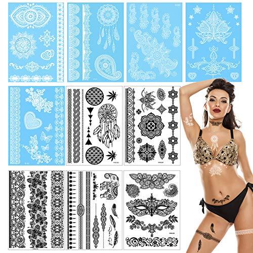 Temporäre Tattoos, Wasserdichte Tattoo-Aufkleber Fake Art Stickers Body Transfers Lace Tattoo Schwarz Weiß 10 Blatt