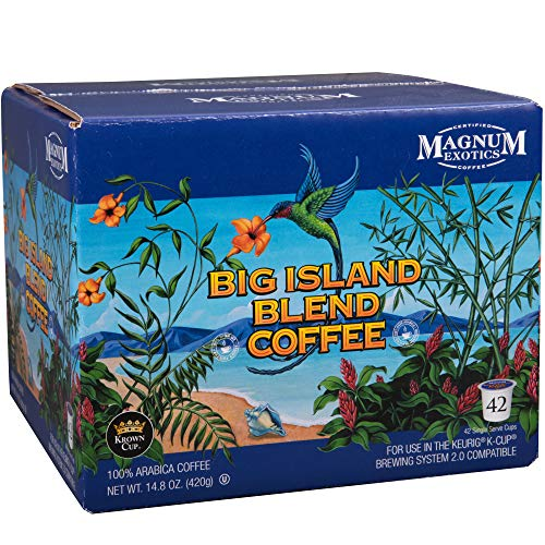 Magnum Exotics Coffee, Kona Blend Coffee, Single Serve K-Cups, 42 count