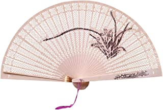 Wensy Chinese Traditional Hollow Fan Wooden Hand Made Exquisite Folding Wedding Gift