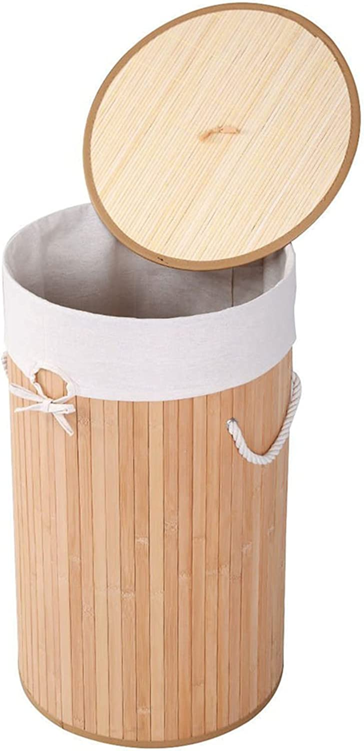 Punkray Barrel Type Bamboo Folding Basket Cover C Wood Outlet ☆ Free Shipping New sales Body with