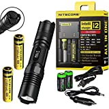 NITECORE P10 800 Lumen high intensity CREE XM-L2 LED specialized tactical duty Strobe Ready compact flashlight with two Genuine Nitecore NL188 18650 3100mAh Li-ion rechargeable batteries, Nitecore i2 2014 intelligent Charger, Car Charging Cable and 2 X EdisonBright CR123A lithium Batteries