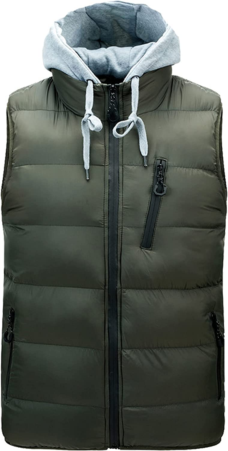 Zontroldy Men's Winter Quilted Puffer Vest Outdoor Down Vest Jacket with Removable Hood