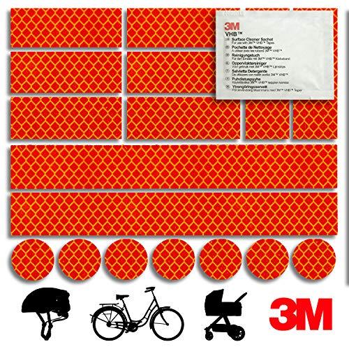 Mezanin Reflektoren-Aufkleber - Reflektor-Set für z. B. Fahrrad, Helm, Skateboard, Auto, Motorrad, Kinderroller - Verbessert Sichtbarkeit & Sicherheit - Hergestellt mit 3M Diamond Grade Tape (Rot)
