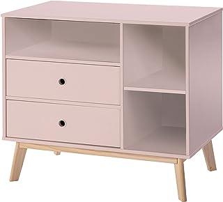 HOMCOM Commode 2 tiroirs 3 niches pour Enfant dim. 90L x 50,8l x 80,1H cm MDF Rose Bois Massif pin