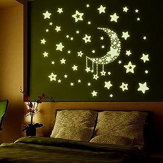 RETUROM Dormitorio 100PC Ni/ños Hermosa fluorescentes que brillan en la oscuridad estrellas pegatinas de pared