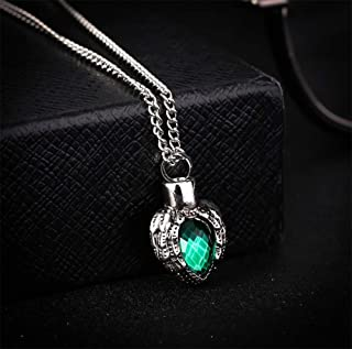 Aimys Stainless Steel Angle Wing Birthstone Heart Urn Necklace Cremation Jewelry Ashes Memorial Necklace