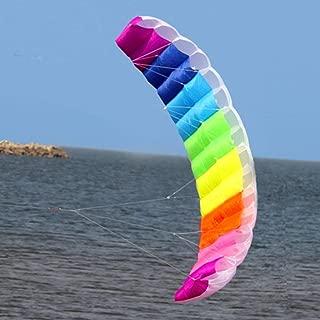 2m Rainbow Dual Line Stunt Parachute Suave Parafoil Vela Kitesurfing Kite deportivo Enorme Gran actividad al aire libre Kite de playa (Rainbow 200x70cm)