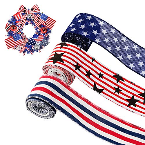 """3 Rolls 2.5"""" Patriotic Ribbons Stars & Stripes Wired Edge Ribbons for Crafts Red White Blue Ribbon for Wreaths Bow Maker Mesh Ribbon for Independence Day 4th of July Summer Home Decoration"""