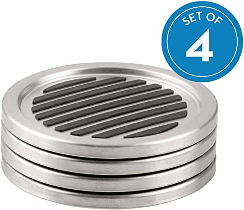 iDesign Forma Brushed Stainless Steel Drink Coasters for Home Counters, Kitchen, Dining Room, Living Room, Patio, Cof...