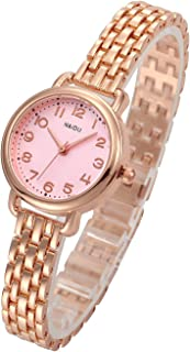 Top Plaza Women Girls Bracelet Wrist Watch Fashion Simple Metal Band Arabic Numerals Dial Analog Quartz Dress Watches - Rose Gold Tone Pink Face