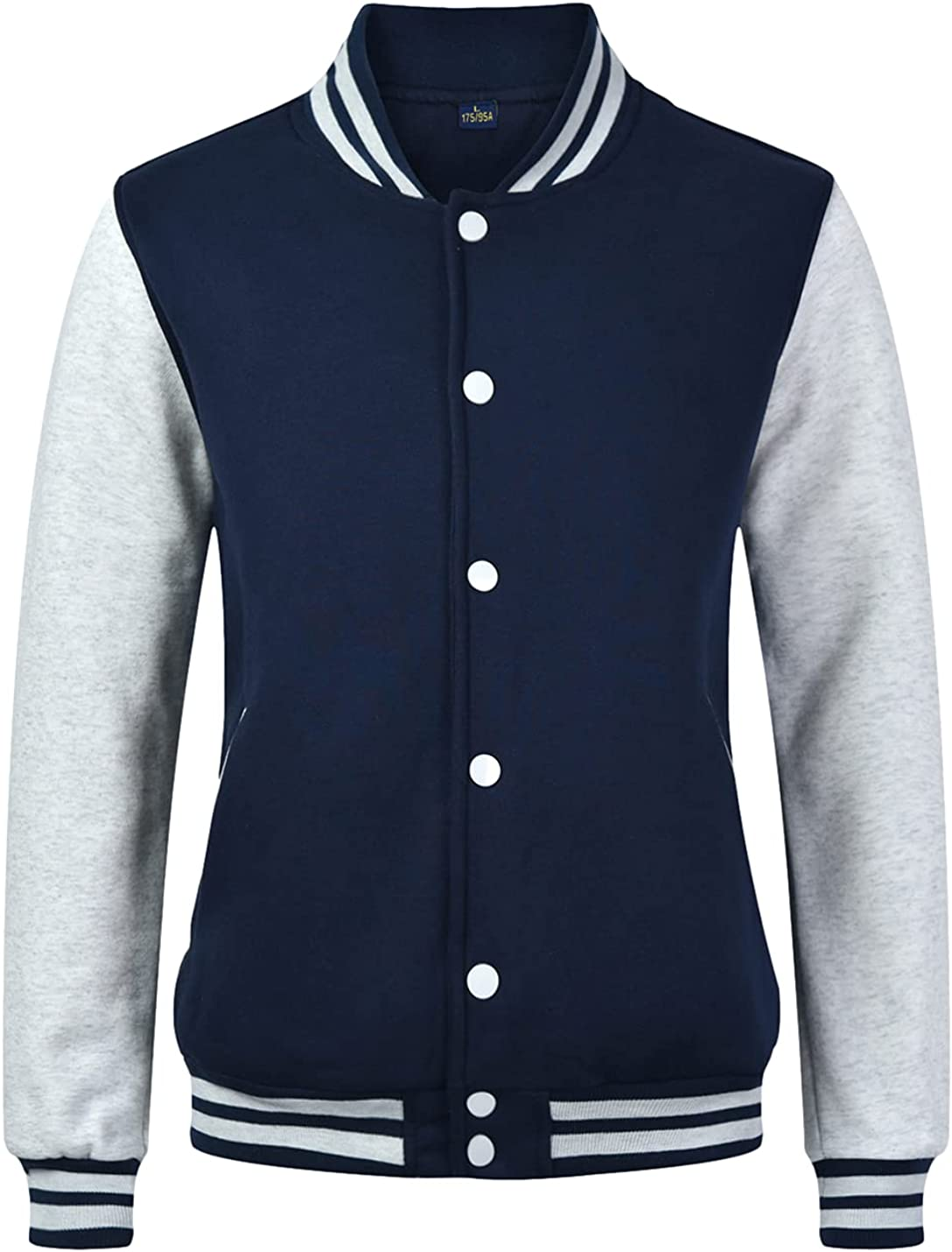 Omoone Finally popular brand Men's Casual Jackets Color New color Block Baseball Button Varsity