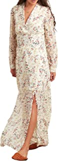 Floral Printed Slit Front A-Line Maxi Dress- Women A-Line Swing Outfit- Maxi Summer Beach Dress – Ladies Casual Embroidere...