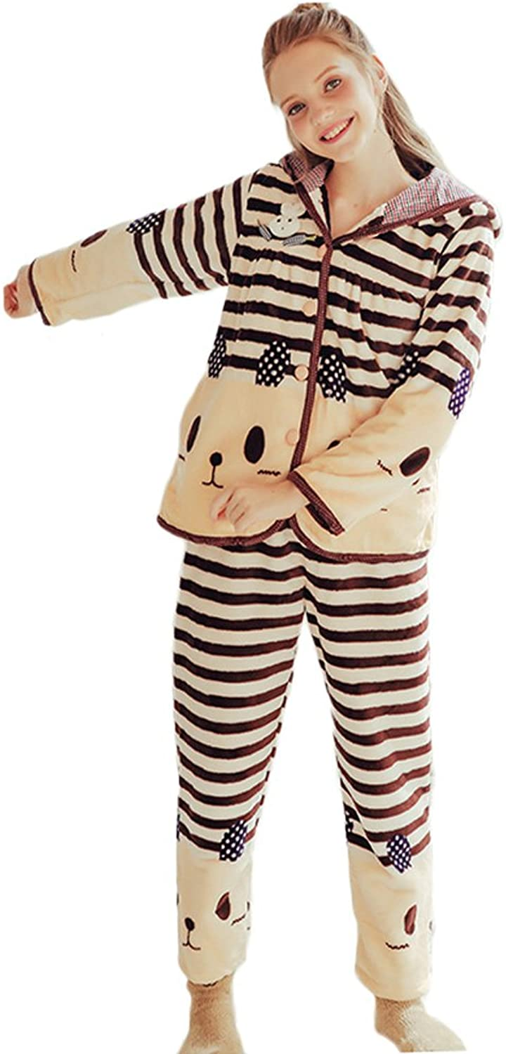 Girl Winter Cartoon Striped Hooded Cardigan Keep Warm Pajamas Sweet Long  Sleeved Trousers Home Clothing Set ( color   Brown , Size   XL )