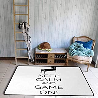 Outdoor Patio Rug, Carpet Protector for Desk Chair, Pinball Machine Arcade Room Concept Keep Calm and Game On Fun Entertainment, Easy to Clean, 59