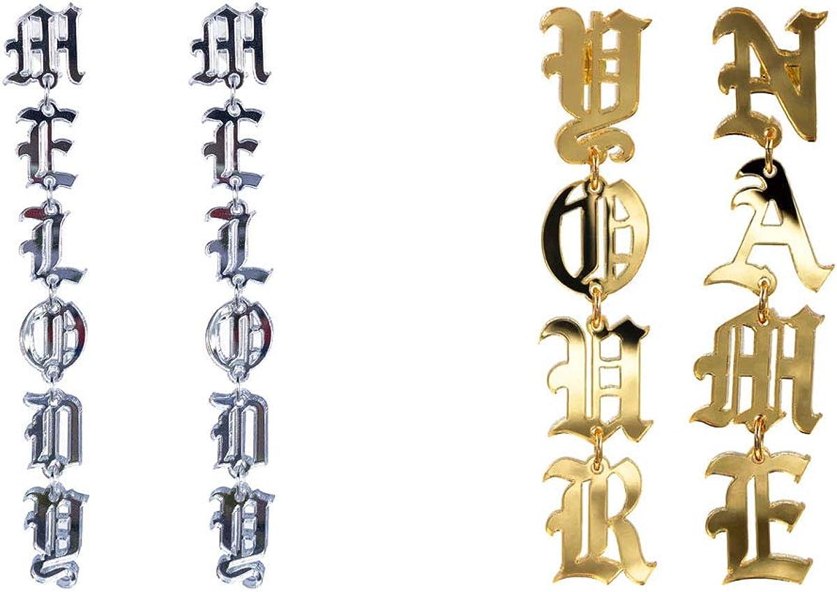 Personalized Old English Name Earrings Custom Name Dangle Stud Earring Hip-Hop Long Drop Earrings Jewelry Women Gif
