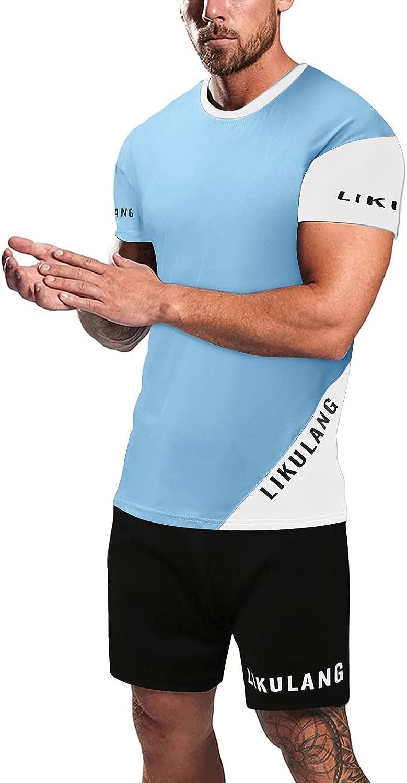 FUNEY Men's 2 Piece Summer Beach Patchwork Short Sleeve T-Shirt and Shorts Set Mens Casual Running Jogging Sports Tracksuit