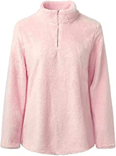 Ulanda Womens Long Sleeve Tops Winter Warm Blouse Sweatshirt Zipper Fleece Pullover Top