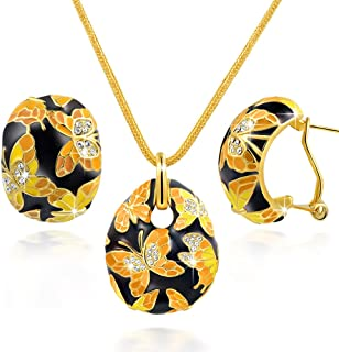 QIANSE Jewelry Set Gifts for Women, Necklace and Earrings Collection, Spring of Versailles, With Jewelry Box, Christmas Bi...