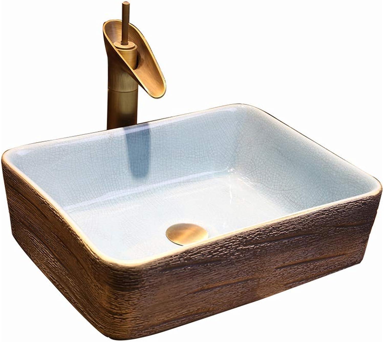 Waschbecken, Wasserhahn, Keramik, Hohe Qualitt Passend Retro Style Marmor Grain Badezimmer über Zhler Becken
