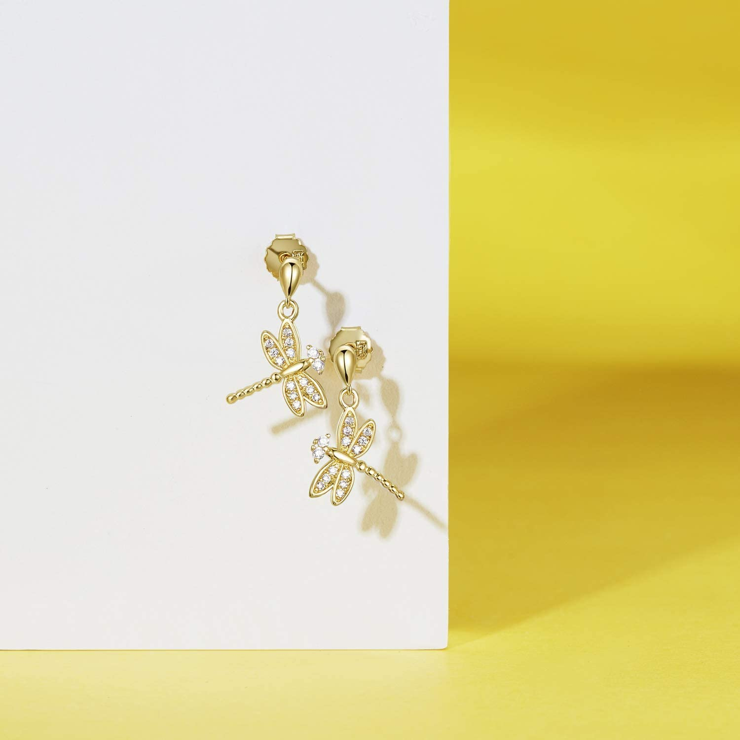 Agvana Sterling Silver Gold Cubic Zirconia Dragonfly Dangle Earrings Bracelet Pendant Necklace Anniversary Birthday Christmas Gifts Jewelry for Women Girls Mom Grandma Wife Girlfriend Daughter Her