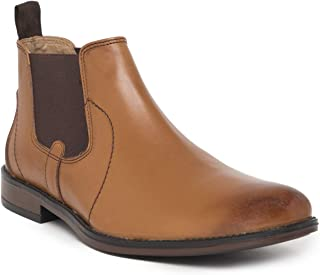 NOBLE CURVE Tan Leather Chelsea Boots