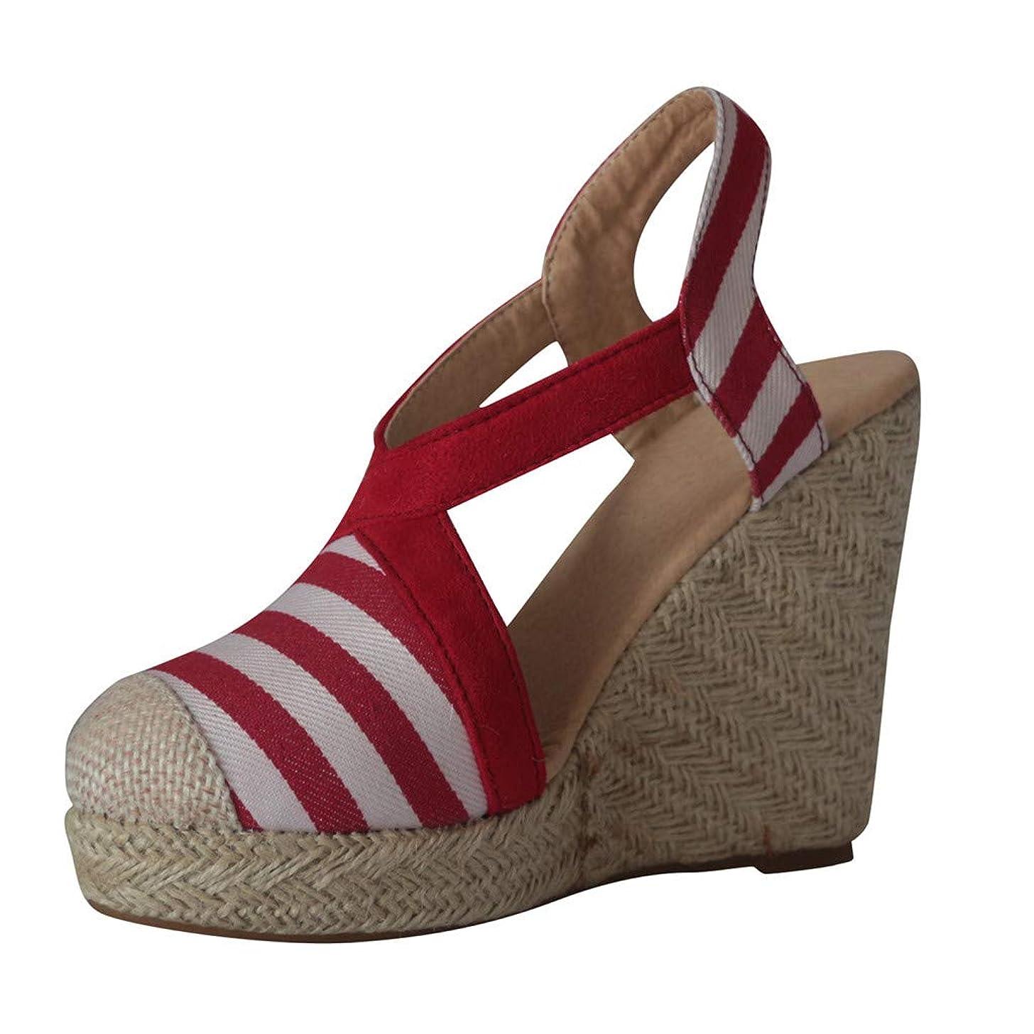 Women's Casual Single Buckle Platform Strap Striped Printed Cap Toe Shoes Espadrilles Wedges Sandals JHKUNO