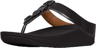 Fitflop Women's Fino Shellstone Open Toe Sandals, (Black 001)