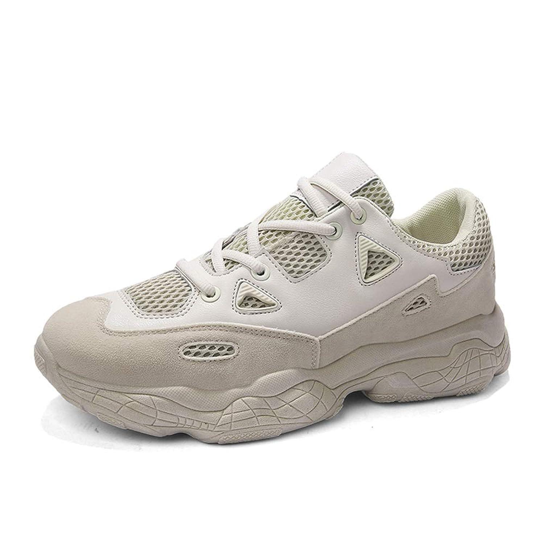 男士革靴 ファッションスニーカー男性ロートップウォーキングランニングスポーツシューズレースアップカジュアルニットPUレザーラウンドトゥアンチスリップ通気性 個性な (Color : ベージュ, サイズ : 25.5 CM)