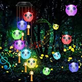 Owl Wind Chimes with Metal Musical Bells, JJPTUCZ Outdoor Solar Wind Chimes, Seven Color-Changing LED Lights, Indoor and Outdoor Waterproof Wind Chimes, Gardens, Terrace Decorations Gift (Owl)