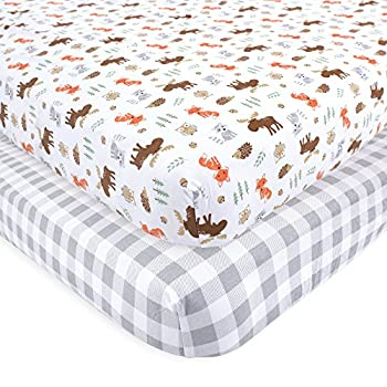 Hudson Baby Unisex Baby Cotton Fitted Crib Sheet Woodland One Size