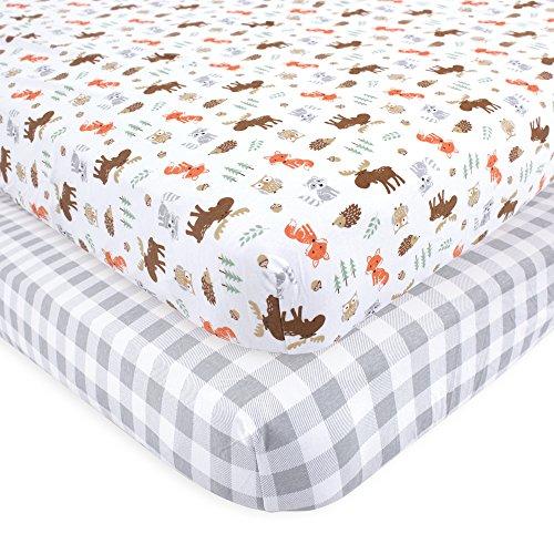 Hudson baby Unisex Baby Spannbettlaken für Kinderbett, Baumwolle, Woodland, Einheitsgröße