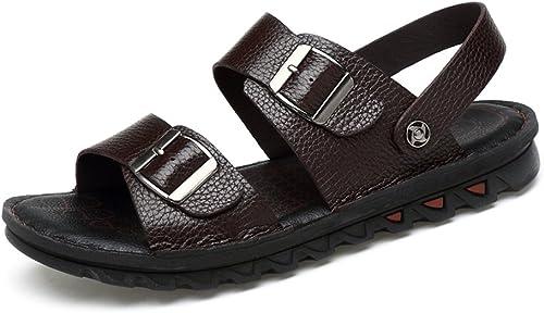 Sandales Hommes Sandales de Plage en Cuir de Vachette Vachette pour Hommes avec Boucle Ouverte Confortable  marque