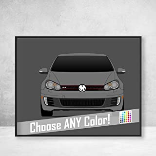 Volkswagen Golf GTI MK6 Poster Print Wall Art Decor Handmade