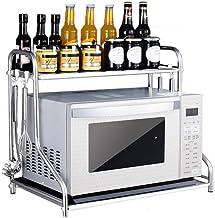 MAIKA HOME - Estante para horno de microondas de acero inoxidable montado en la pared/estantes de cocina de 2 pisos/soporte para horno/estante para especias de dos pisos (Tamaño: 37 * 48 * 58CM)