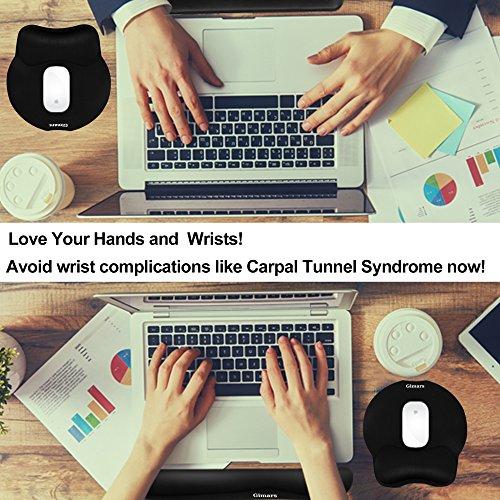 Gimars Handgelenkauflage für Tastatur und Maus Handballenauflage mit Memory-Schaum ergonomisch zur Entlastung des Handgelenks Schwarzes Pad-Set - 3