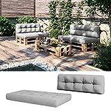 Vicco Palettenkissen Set Sitzkissen + Rückenkissen 15cm hoch Palettenmöbel (Sitz+Rückenkissen, Grau)
