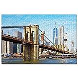 Estados Unidos América Puente de Brooklyn Manhattan Nueva York Puzzle 1000 Piezas para Adultos Familia Rompecabezas Recuerdo Turismo Regalo