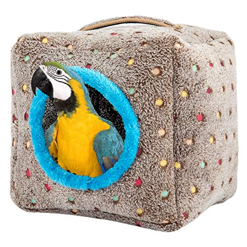MEWTOGO Large Size Bird Snuggle Hut Nest- Winter Warm Plush Birds Nest House Hanging Snuggle Hideaway Cave Bed Toy for Large Birds Like Macaws African Grey Cockatoos and a Variety of Amazon Parrots