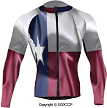 Cycling Jersey Long Sleeves Men,State of Texas Flag Star Freedom Symbol Silk Fab