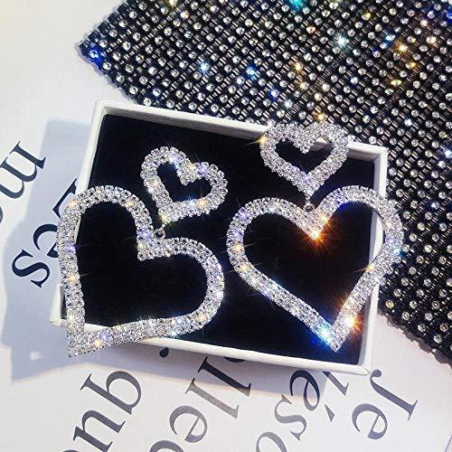 Arete Crystal Classic Heart Women Cuelga Los PendientesFashion Double Loving Earrings with Long Peach Heart Earrings Jewelry Silver