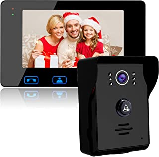 """Video Door Phone Doorbell Wires Video Intercom Monitor 7"""" Wired Door Bell Home Security System with Night Vision and Push ..."""