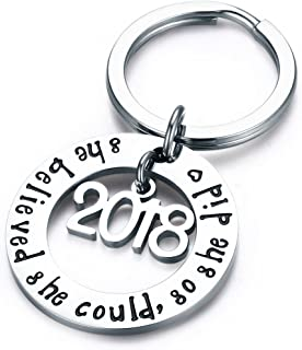 Graduation Gift Jewelry Stainless Steel 2019 She Believed She Could So She Did Keychain Inspirational Gift for Girl,Women.