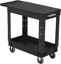 "Industrial Service & Utility Cart, Plastic 2 Shelf Flat Black, 38"" x 17-1/2"", 5"