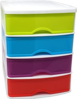 Cajonera de plástico Blanca 4 cajones-Multicolor 35 x 27 x 35.5 cm