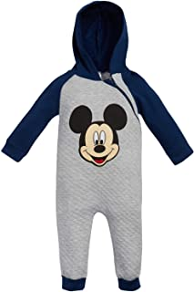 Baby Boys Mickey Mouse One Piece Hooded Footless Romper Jumpsuit (Newborn and Infant)